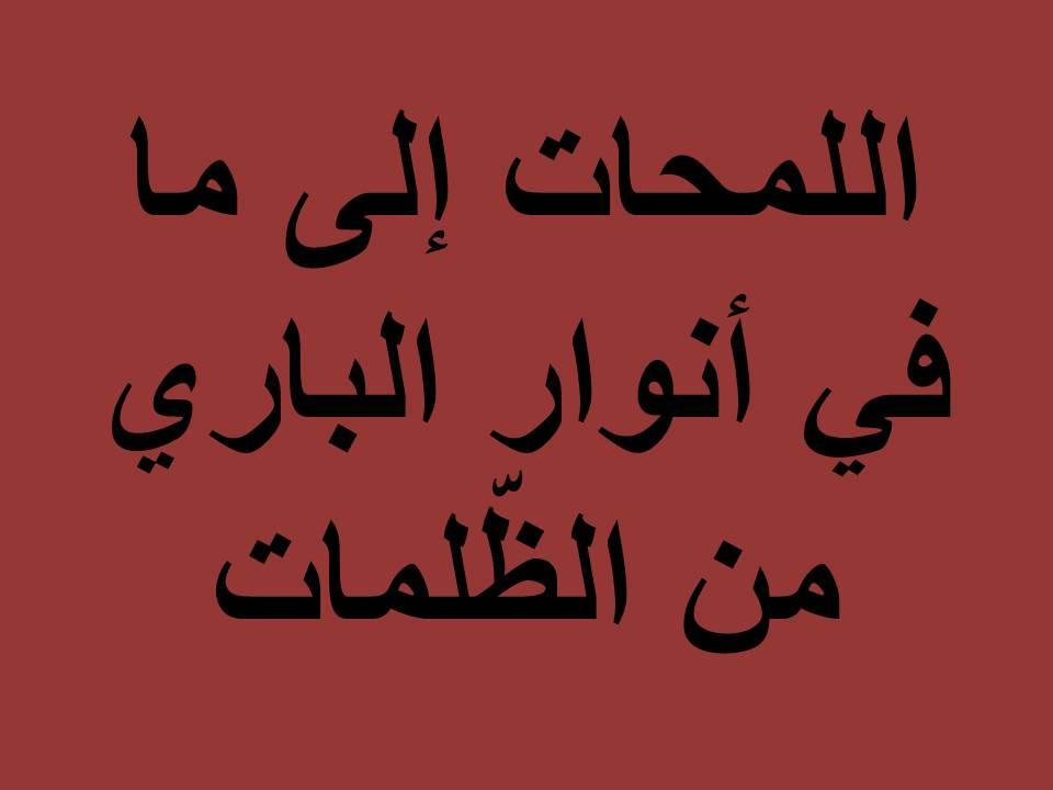 اللمحات إلى ما في أنوار الباري من الظّلمات 4