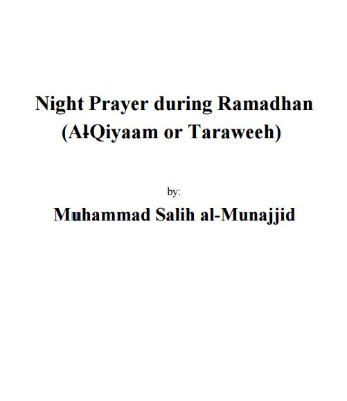 Night Prayer during Ramadhan