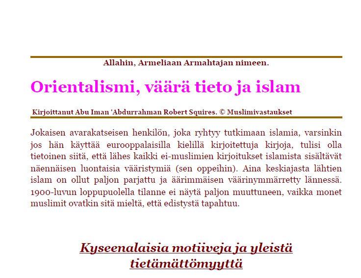 Orientalismi, väärä tieto ja islam