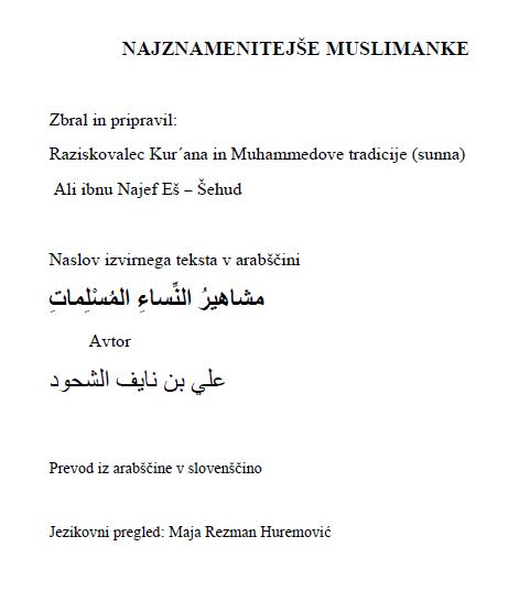 NAJZNAMENITEJŠE MUSLIMANKE