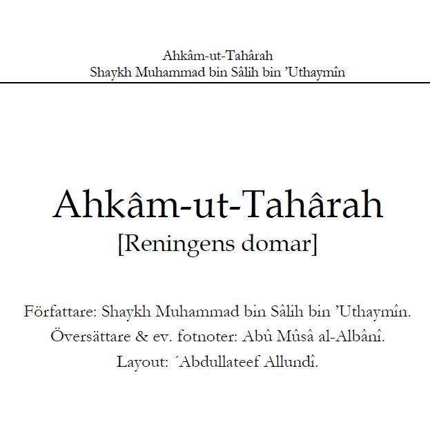 Ahkâm-ut-Tahârah [Reningens domar]