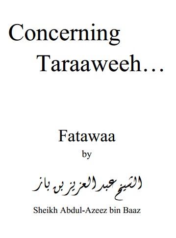 Concerning Taraaweeh