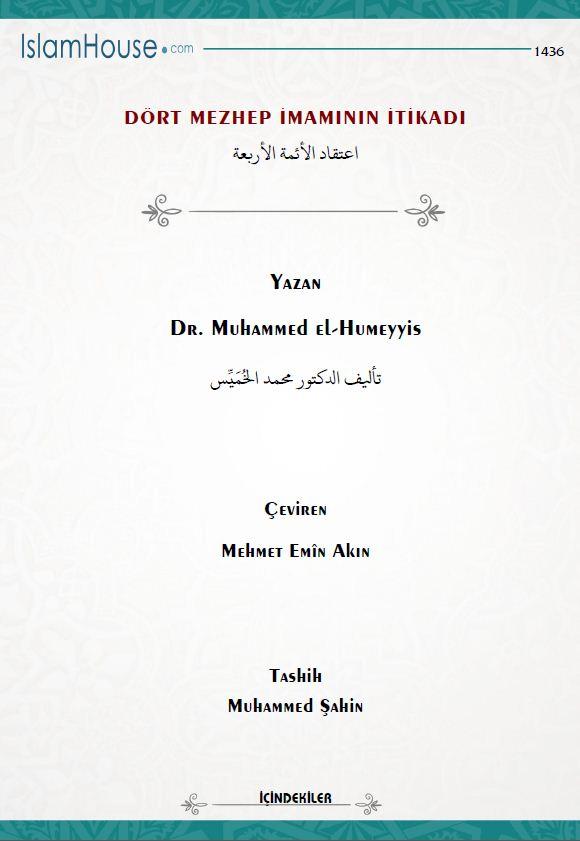 Dört mezhep imamının itikadı