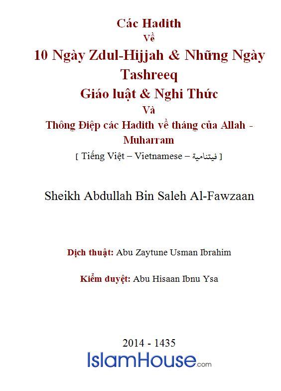 Các Hadith Về 10 Ngày Zdul-Hijjah & Những Ngày Tashreeq; Giáo Luật, Nghi Thức & Thông Điệp Các Hadith Về Tháng Của Allah, Muharram