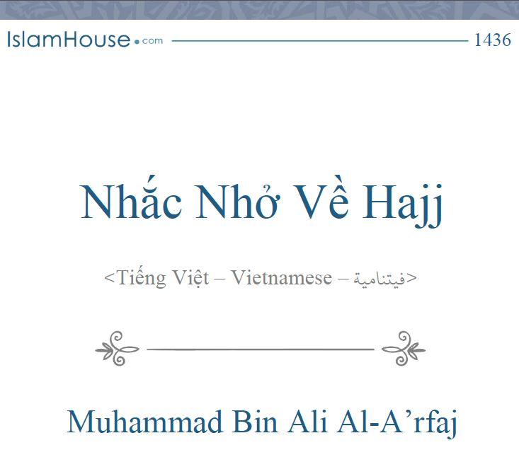Nhắc Nhở Về Hajj