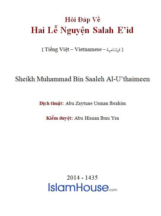 Hỏi Đáp Về Hai Lễ Nguyện Salah E'id