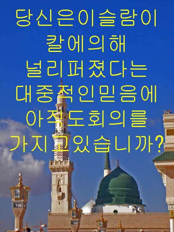 당신은이슬람이칼에의해 널리퍼졌다는 대중적인믿음에아직도회의를 가지고있습니까?