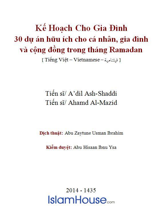Kế Hoạch Cho Gia Đình 30 Dự Án Hữu Ích Cho Cá Nhân, Gia Đình & Cộng Đồng Trong Tháng Ramadan
